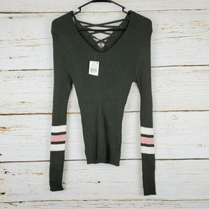 NWT Hooked Up Laced Back Sweater